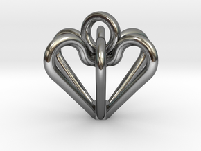 Elegant Heart Pendant  in Polished Silver