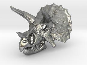Triceratops Dinosaur Skull Pendant in Natural Silver