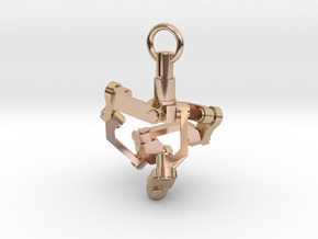 Mechanical earring (right) in 14k Rose Gold Plated Brass