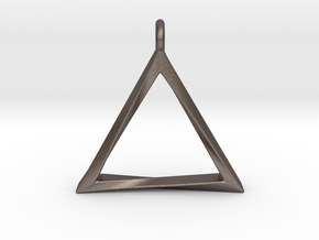 Twisting Triangle Pendant in Polished Bronzed Silver Steel