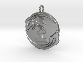 Serpent and Life Pendant in Natural Silver