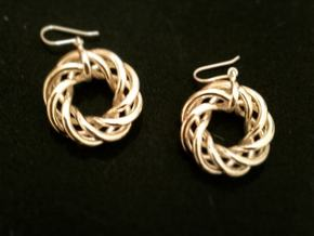 Torus Flower Earrings in 14k Gold Plated Brass