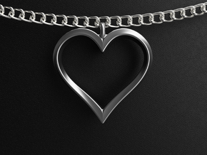 Twisting Heart Pendant in Polished Silver
