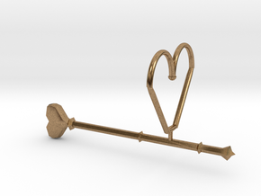 Heart Wand Keychain/necklace Attachment in Natural Brass