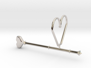 Heart Wand Keychain/necklace Attachment in Rhodium Plated Brass