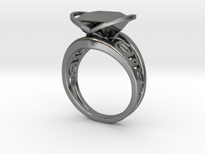 Achtknoten Curve Twin Ring (001) in Fine Detail Polished Silver