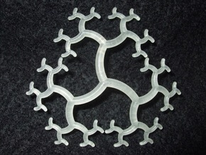 Curved Trivalent Tree Pendant in Smooth Fine Detail Plastic