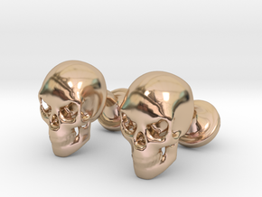 Skull Cufflinks in 14k Rose Gold