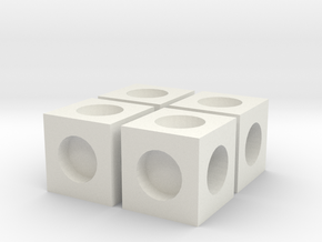 MPConnector - Connector Block 4 pack in White Natural Versatile Plastic