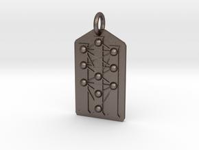 Three Pillars Tree of Life Medallion in Polished Bronzed Silver Steel