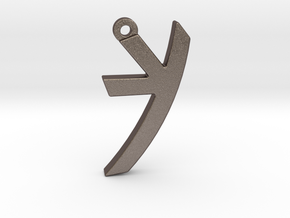 Letter KAF - Paleo Hebrew - with Chain Loop in Polished Bronzed Silver Steel