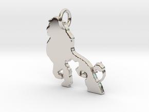 creative Lion Pendant in Rhodium Plated Brass