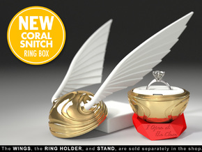 Golden Snitch Harry Potter Ring Box (CORAL MODEL) in Yellow Strong & Flexible Polished