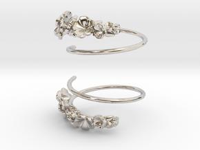 Flower Spiral Earrings in Platinum