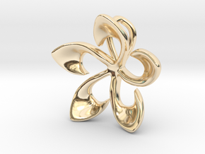 Flowering Plumaria Pendant in 14K Gold: Large
