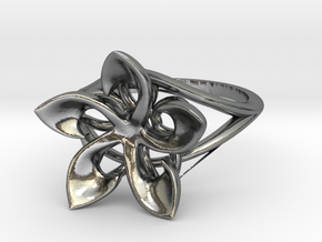 Flowering Plumeria Ring in Polished Silver