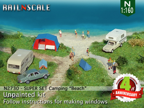 SUPER SET Camping Beach (N 1:160) in Smooth Fine Detail Plastic