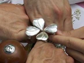 Four leaf clover ring like the gang's ring. Order  in Polished Silver