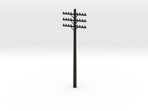 3-Arm Telephone Pole in Black Natural Versatile Plastic: 1:64 - S