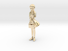 1/43 School Girl in Uniform in 14k Gold Plated Brass