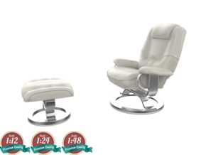 Miniature Impulse Recliner & Ottoman in White Natural Versatile Plastic: 1:24