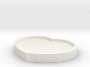 Heart Pad - 8CM Wide in White Natural Versatile Plastic