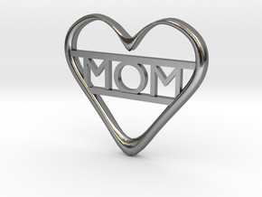 Mom's Heart in Polished Silver
