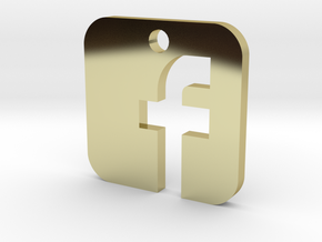 Facebook Pendant in 18k Gold Plated Brass