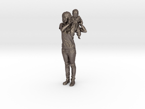Mother and son - 368 in Polished Bronzed Silver Steel