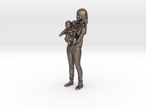 Mother and son - 369 in Polished Bronzed Silver Steel