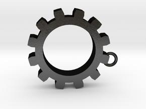 Cog Key Chain in Matte Black Steel
