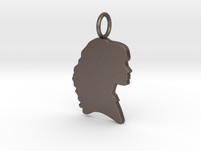 Hermione Silhouette Pendant in Polished Bronzed Silver Steel