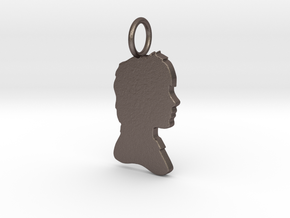 Ron Silhouette Pendant in Polished Bronzed Silver Steel