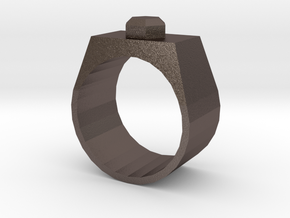 Stud Ring in Polished Bronzed Silver Steel: 10 / 61.5