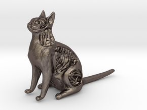 White Walker Cat in Polished Bronzed Silver Steel
