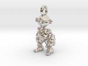 pendant Clockwork Gnome  in Rhodium Plated Brass