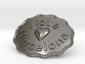 I Love Barcelona in Polished Nickel Steel