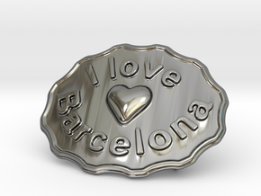 I Love Barcelona in Fine Detail Polished Silver