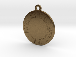 Benchmark Keychain - early flat type with no cente in Natural Bronze