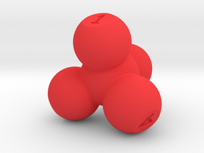 Molecular Four Sided Die in Red Processed Versatile Plastic