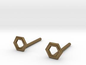 Hexagon studs in Natural Bronze