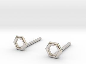Hexagon studs in Platinum