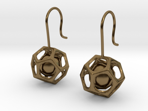 Dodecahedron earrings in Polished Bronze (Interlocking Parts)