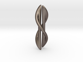 Long Knot Twist  in Polished Bronzed Silver Steel