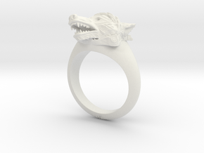 wolf Ring in White Natural Versatile Plastic: Medium