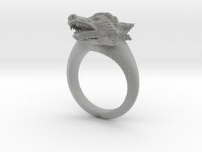 wolf Ring in Metallic Plastic: Medium