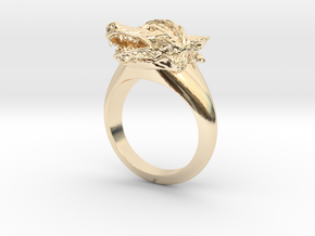 wolf Ring in 14K Yellow Gold: Medium
