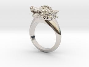 wolf Ring in Platinum: Medium
