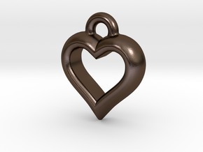 Hearty Little Heart (steel_pendant) in Polished Bronze Steel