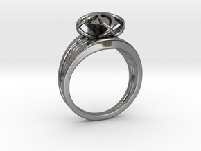 Round Gem Twin Ring in Fine Detail Polished Silver